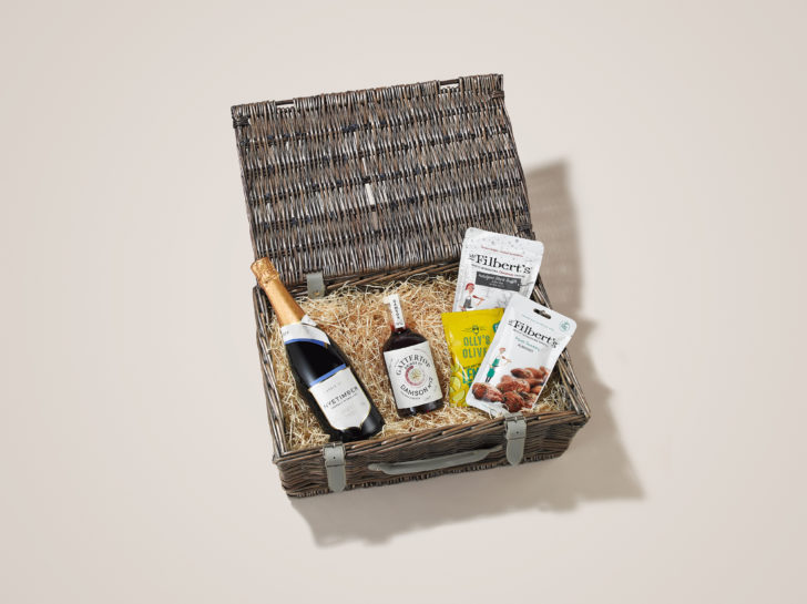 Nuts, Olives, Sparkling Wine and Damson 12 make for a great Party Time Christmas Hamper